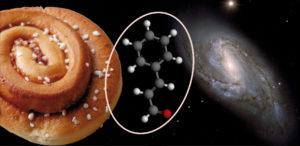 Bulle: Yari Simone Prete, galax med bulle M66: ESO/P. Barthel, molekyl: Wikimedia Commons/RedGolpe