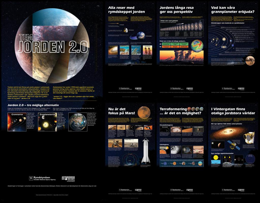 <em>Utställning Jorden 2.0: exempel på planscher. Design: Kjell Olauson</em>